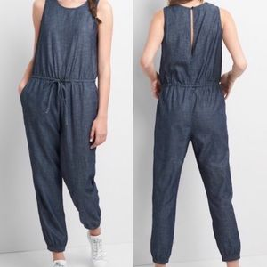 Gap Denim Sleeveless Tie Waist Jogger Jumpsuit